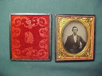 Antique Ambrotype Photograph of a Gentleman with Watch Chain in Leather Case