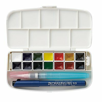 New Kuretake Gansai watercolor Compact 14 color set With Brush Pen KG301-1 F/S