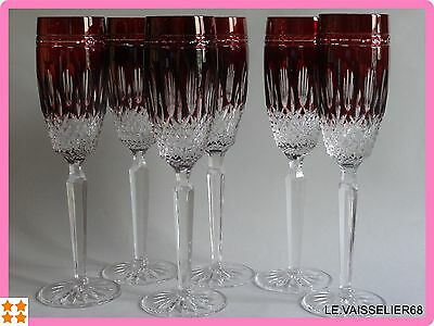 Six Large Glasses Champagne Ajka Crystal Red Rubis Pattern Clarendon