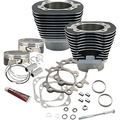 """S&S Cycle Black Powdercoat Big Bore 117"""" Kit for 2007-2016 Harley Twin Cam"""