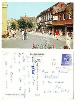 Early Postcard,Hertfordshire,Watford Shopping Precinct Old Shops. People Outside