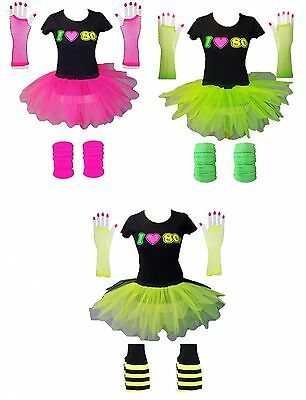 LADIES TUTU TSHIRT GLOVES LEG WARMER 80s FANCY DRESS SET COSTUME NEON FESTIVAL