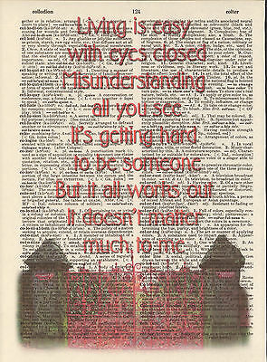 Strawberry Fields Gate Beatles Altered Art Print Upcycled Vintage Dictionary