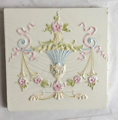 1(one) Antique White Floral Ceramic Tile Bathroom Victorian Urn Swags Crackle B