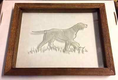 Beautiful Sand Blasted Glass Art Hunting Dog