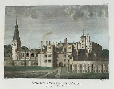 OLD ANTIQUE PRINT HOLME PIERREPONT NOTTINGHAMSHIRE c1790's by HALL / WIGLEY