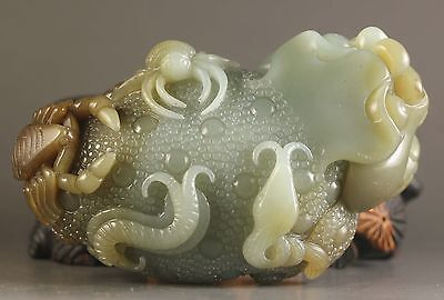 Chinese natural hetian jade hand-carved dragon pixiu statue 2.8 inch