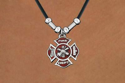 Firefighter Maltese Cross Silvertone Red Enamelled Charm Necklace on Black Cord