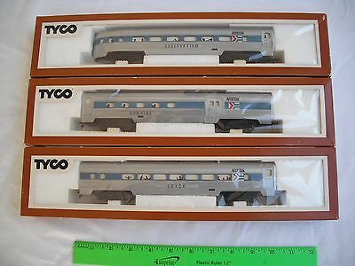 Lot of 3 Tyco Amtrak Lighted Passenger Train Car, Observation Coach, HO Scale