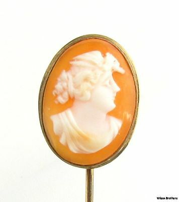 Cameo Stickpin - Antique Oval Carved Shell Estate Vintage Female Bust