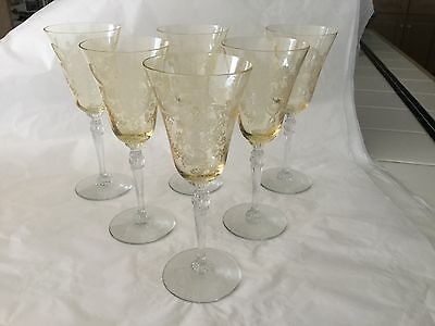 """6 Imperial Glass stem 470 """"Love Bird"""" etched design sherry glasses in yellow"""