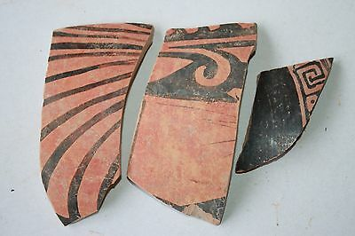 3 ANCIENT GREEK HELLENISTIC POTTERY CRATER SHARDS 3rd CENTURY BC