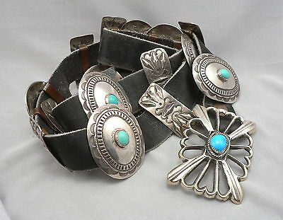 Vintage Southwestern SILVER & TURQUOISE CONCHO BELT & Buckle Leather Old Pawn?