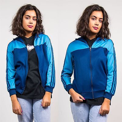 Adidas Blue Tracksuit Jacket Top Three Stripe Womens Sports Casual Retro 8 10