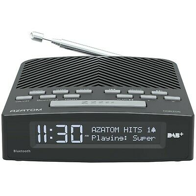 AZATOM Horizon DAB + Radio FM Alarm Clock Bluetooth Bedside Large Display Black