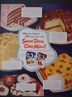 1951 Swans Down Cake Mixes Baking Full Color Vintage Print Ad 12275