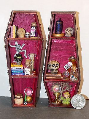 Dollhouse Miniature Halloween Wood Coffin Shelf Set of 2 Berry & Black 1:12 D61