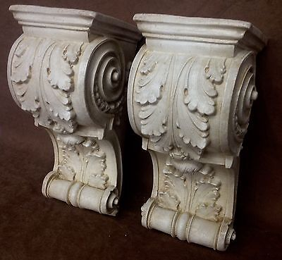 Pair Antique Finish Shelf Acanthus leaf Wall Corbel Sconce Bracket Vintage