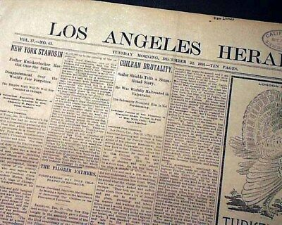 Rare LOS ANGELES Southern California Wild Old West 1891 Newspaper w/ Ads