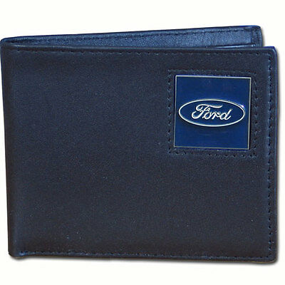 ford motors automobile auto car logo leather bi-fold wallet usa made
