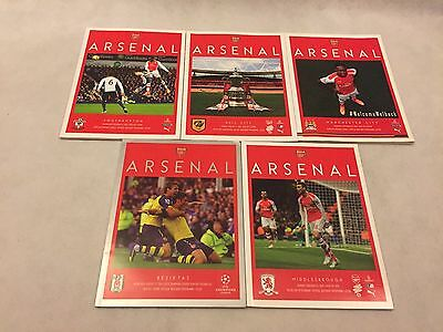 Arsenal Programmes x 5, 2014/15, Including Champions League & FA CUP ties.