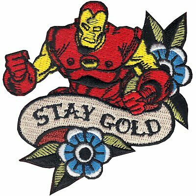 Official Marvel Comics Avengers Iron Man Retro Stay Gold Iron on Applique Patch