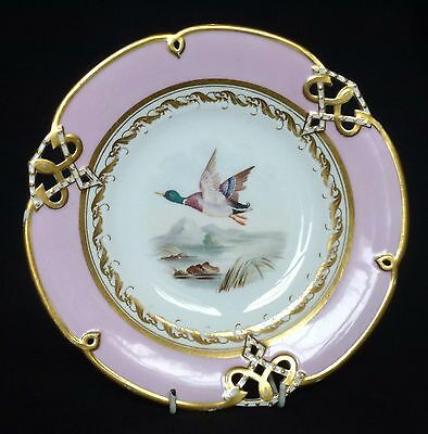 19thC Spode Reticulated Cabinet Plate - Painted Mallard / Wild Duck in Flight