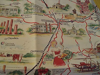 """OFFICIAL Travelers 1962 """"ALABAMA HIGHWAY MAP""""~Comic TOURIST GUIDE/Map~"""