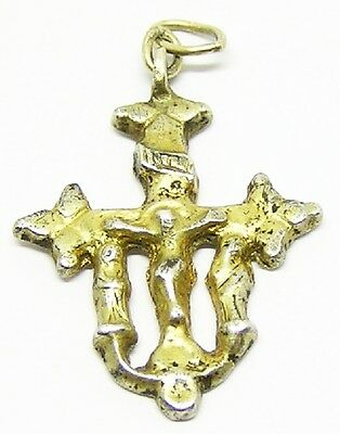 Fabulous English Medieval Silver Gilt Crucifix Pendant c. 15th - 16th century AD