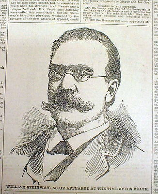1896 newspaper DEATH of WILLIAM STEINWAY famous PIANO COMPANY MANUFACTURER CEO
