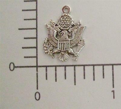 57614         Matte Silver Plated US Army Charm Brass Jewelry Finding