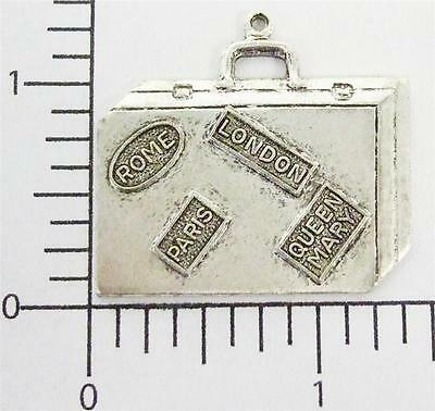 58044        Matte Silver Oxidized  Victorian Suitcase Charm Jewelry Finding