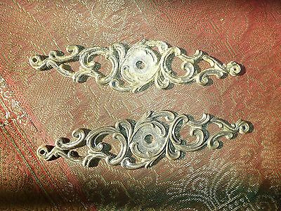 2 Drawer Knob Escutcheons Cast Brass Scroll Vintage Victorian