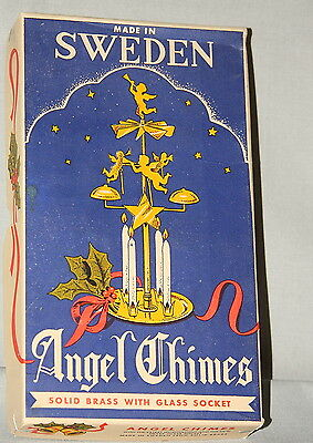 Vintage from Sweden Angel Chimes with box Solid Brass with Glass Sockets, NY, CA