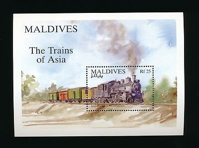 Maldives Stamp Mini Sheet  The Trains Of Asia