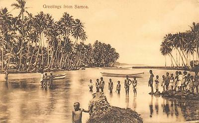 GREETINGS FROM SAMOA BOAT CHILDREN POSTCARD (c. 1910)