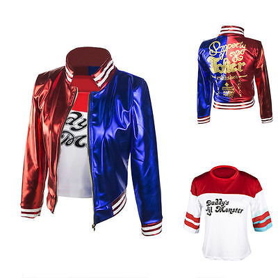 Harley Quinn DC Comic Suicide Squad Cosplay Costume Jacket T-shirt Shorts Set