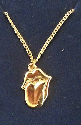 Rolling Stones Gold Colored Necklace Rare Collectible