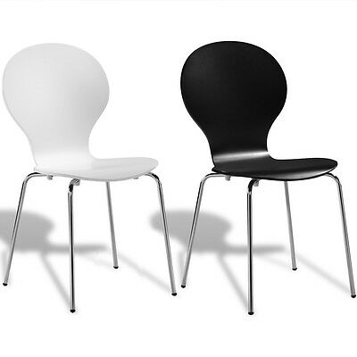 Stackable Bentwood+Steel Butterfly Dining Office Chairs White/Black 2/4/6 Pieces