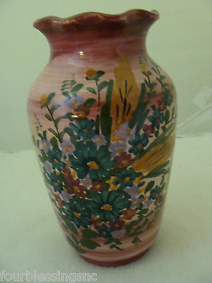 Vtg. Pottery Vase-Isle Of Crete-Greek Rodos Signed-Hand Painted Floral