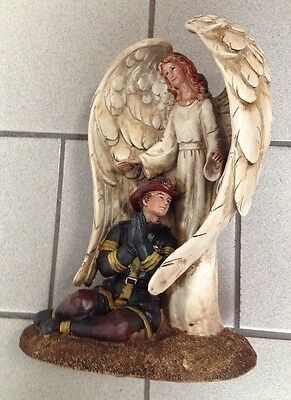Firefighter praying with Winged Guardian Angel Statue Figurine