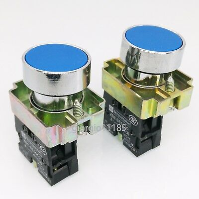 US Stock 2pcs 1NO XB2-BA61 Momentary Blue Flush Pushbutton Switch 22mm