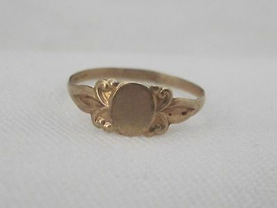 Vintage 10k Yellow Gold Signet Baby Ring Unengraved Size 2 1/2  BE243