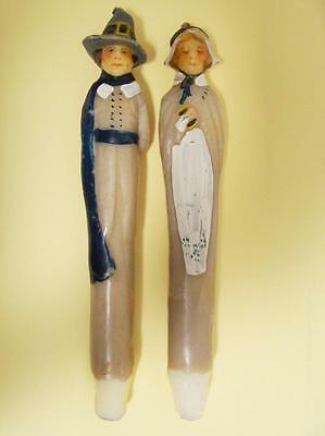 Vintage 2 Candles Mayflower Pilgrims John & Priscilla Alden Thanksgiving