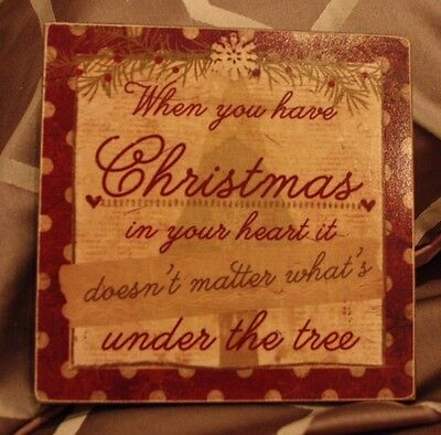 "8"" x 8"" Wooden ""Christmas in your heart...""  Burgundy Christmas Sign - New Item"