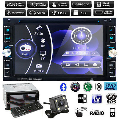 "6.2"" HD Double 2 DIN Car Stereo CD DVD Player Bluetooth Touch Radio TV +Camera"
