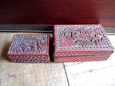 Two Chinese Antique Hand Carved  Red Cinnabar Boxes