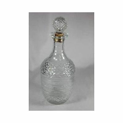 Early American Diamond Press Striped Multi Facet GLASS DECANTER BOTTLE
