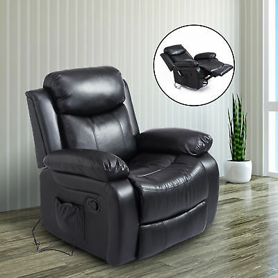 Massage Sofa Chair Recliner Rocking Armchair Lounge Heated Deluxe Black Leather
