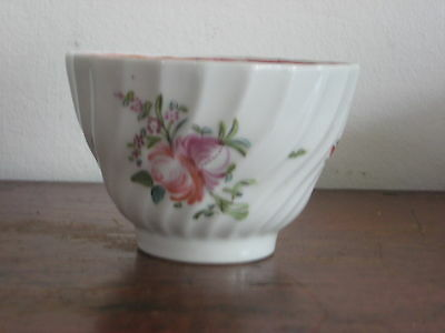 English Late 18Th Century Tea Bowl A/f Wrythen Cut Design Floral Painted